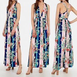 EXPRESS Printed Deep V-Neck Maxi Dress